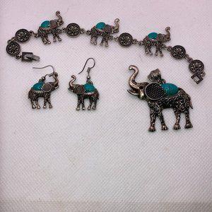 3pc Elephant Bracelet, Earrings, & Necklace Silver